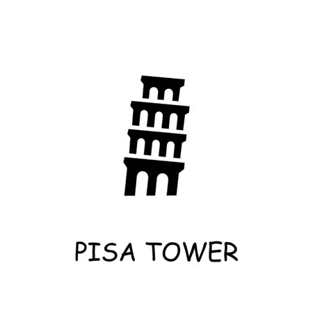 Pisa tower flat vector icon. Hand drawn style design illustrations.