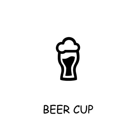 Beer cup flat vector icon. Hand drawn style design illustrations. Illustration