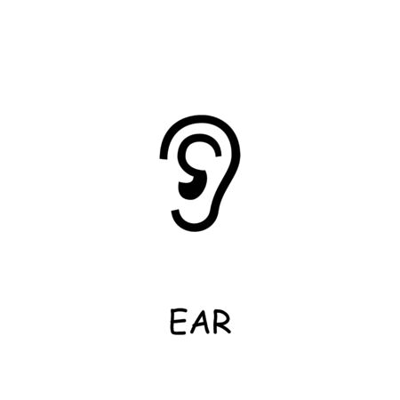 Ear flat vector icon. Hand drawn style design illustrations.