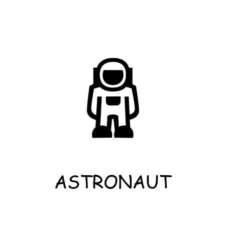 Astronaut flat vector icon. Hand drawn style design illustrations. Ilustração