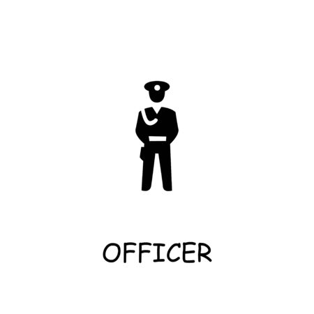Officer flat vector icon. Hand drawn style design illustrations. Ilustração