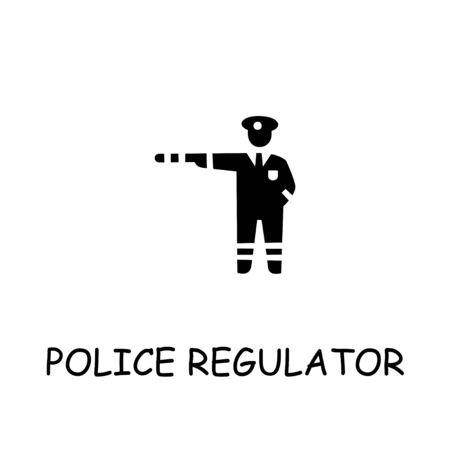 Police regulator flat vector icon. Hand drawn style design illustrations.