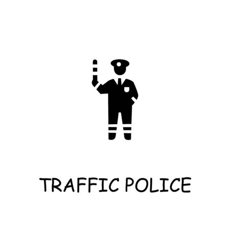 Traffic police flat vector icon. Hand drawn style design illustrations. Imagens - 143961991