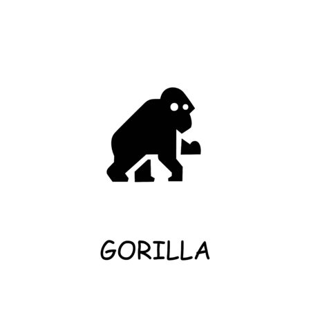 Gorilla flat vector icon. Hand drawn style design illustrations.