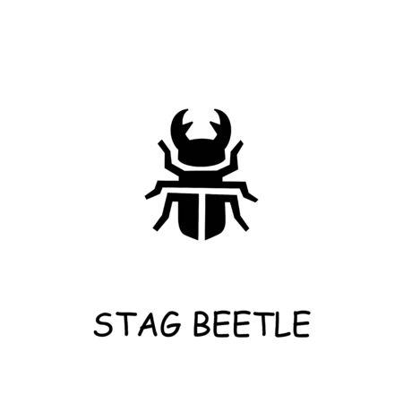 Stag beetle flat vector icon. Hand drawn style design illustrations. Illusztráció