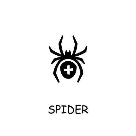 Spider flat vector icon. Hand drawn style design illustrations. Çizim