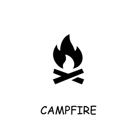 Campfire flat vector icon. Hand drawn style design illustrations.