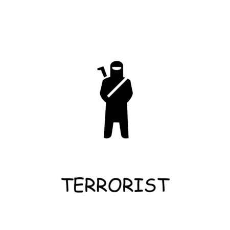 Terrorist flat icon. Hand drawn style design illustrations.