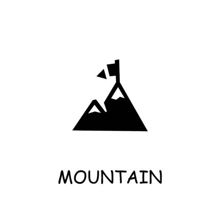 Mountain flat icon. Hand drawn style design illustrations.