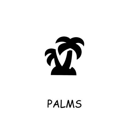 Palms flat icon. Hand drawn style design illustrations.