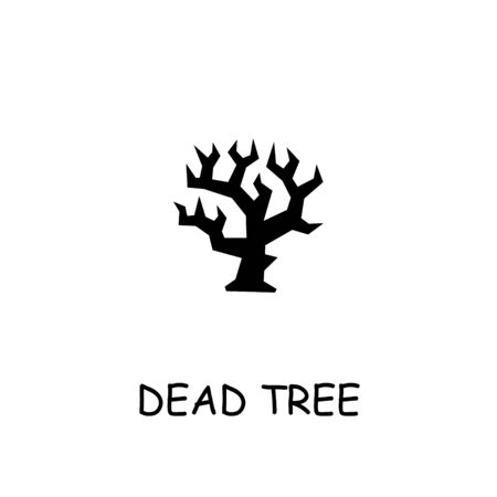 Dead tree flat icon. Hand drawn style design illustrations.