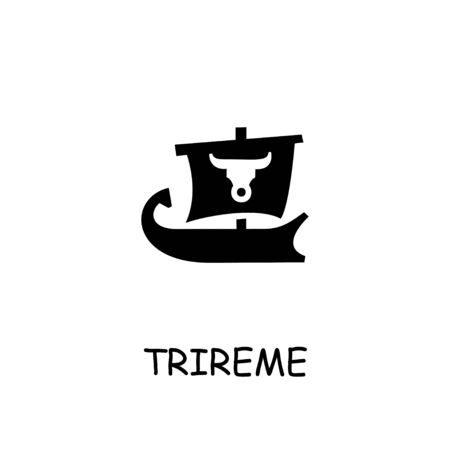 Trireme flat vector icon. Hand drawn style design illustrations. Çizim
