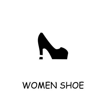 Women Shoe flat vector icon. Hand drawn style design illustrations. Ilustração