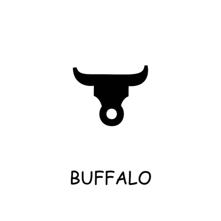 Buffalo flat vector icon. Hand drawn style design illustrations.