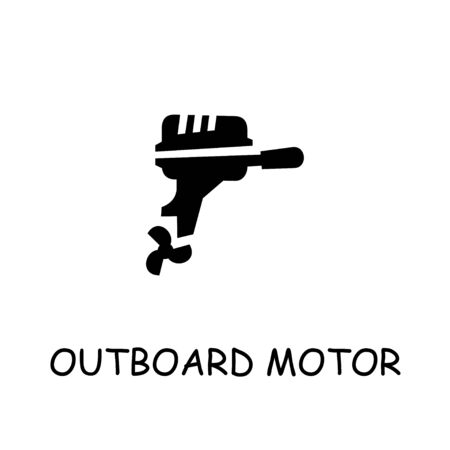 Outboard Motor flat vector icon. Hand drawn style design illustrations.
