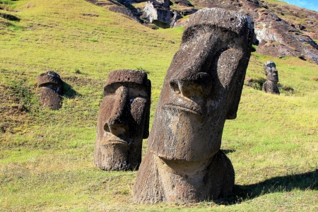 topknot: Moai at Quarry, Easter Island, Chile Stock Photo