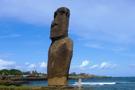 Moai statue at the beach, Easter Island, Chile photo
