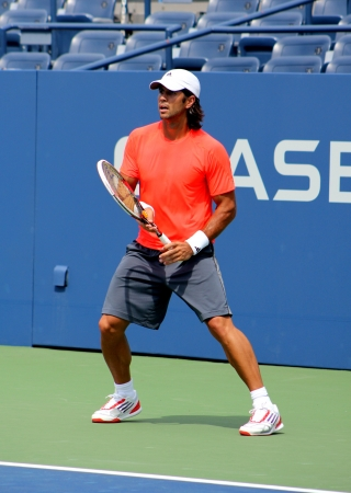 forehand: FLUSHING, NY - AUGUST 21: Professional tennis player Fernando Verdasco practices for US Open at Louis Armstrong Stadium at Billie Jean King National Tennis Center on August 21, 2012 in Flushing, NY.