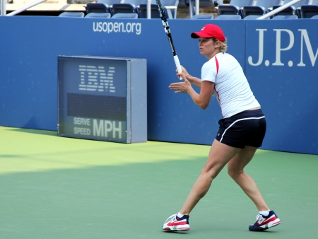 FLUSHING, NY - AUGUST 21  Professional tennis player Kim Clijsters practices for US Open at Grandstand Stadium at Billie Jean King National Tennis Center on August 21, 2012 in Flushing, NY