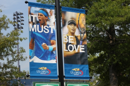 billie:  Billie Jean King National Tennis Center ready for US open tournament on August 23, 2012 in Flushing, NY  Editorial