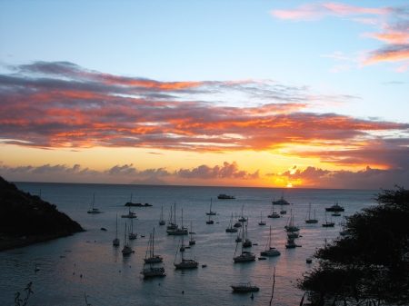 Sunset at St  Barth harbor, French West Indies, Caribbean