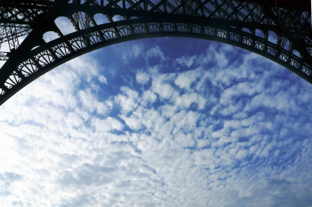 Cloudy sky in Paris, view under the Eiffel tower photo