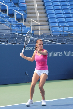 louis armstrong: FLUSHING, NY - AUGUST 23: Professional tennis player Agnieszka Radwanska practices for US Open at Louis Armstrong Stadium at Billie Jean King National Tennis Center on August 23, 2012 in Flushing, NY