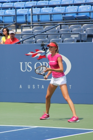 FLUSHING, NY - AUGUST 23: Professional tennis player Daniela Hantuchova practices for US Open at Louis Armstrong Stadium at Billie Jean King National Tennis Center on August 23, 2012 in Flushing, NY. Stock Photo - 15740546