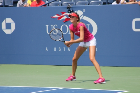 louis armstrong: FLUSHING, NY - AUGUST 23: Professional tennis player Daniela Hantuchova practices for US Open at Louis Armstrong Stadium at Billie Jean King National Tennis Center on August 23, 2012 in Flushing, NY.