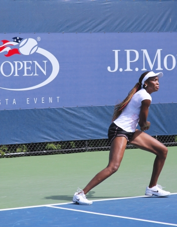 FLUSHING, NY - AUGUST 28: Professional tennis player and seven times Grand Slam champion Venus Williams practices for US Open at Louis Armstrong Stadium at Billie Jean King National Tennis Center on August 28, 2012 in Flushing, NY. Stock Photo - 15740775