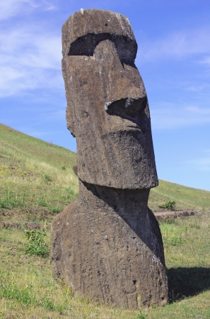 island: Moai at Quarry, Easter Island  Stock Photo
