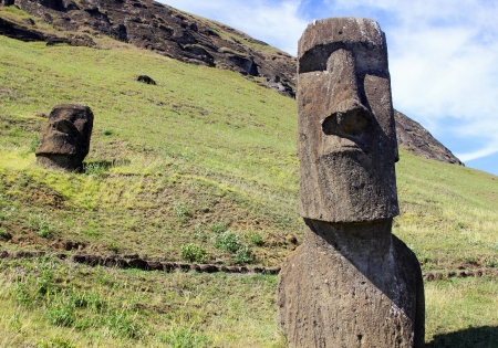 Moai in quarry, Easter Island, Chile Stock Photo