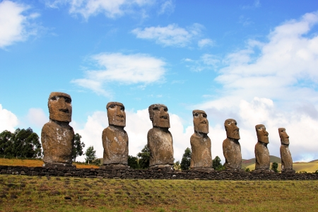 Seven moai platform, Easter Island, Chile photo