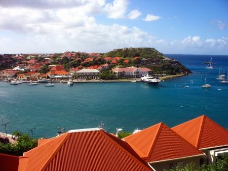 グスタビア港、St Barth フランス領西インド諸島 写真素材