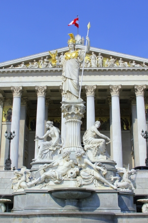 Statue of Athena in front of Austrian Parliament in Vienna