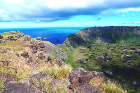 rapa: Rano Kao volcano crater and Birdman island,  Easter Island, Chile