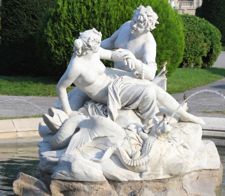 nymphet:  Triton and Nereid fountain in front of Natural History Museum,Vienna, Austria Editorial
