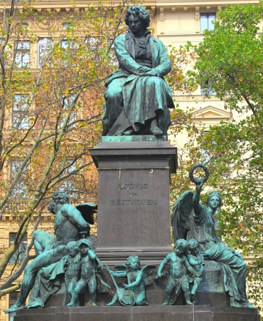 beethoven:  Ludwig van Beethoven statue in Vienna, Austria  It was unveiled in 1880