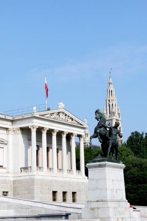 Austrian Parliament with the Rathaus (City Hall) building in the background.