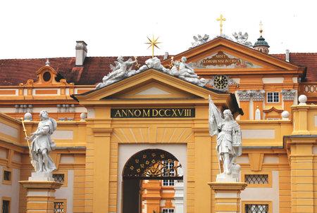 leopold: Statues of saint Coloman and  Leopold II in Melk Abbey, lower Austria