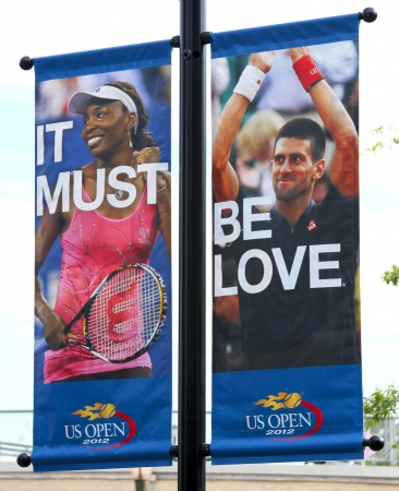 Billie Jean King National Tennis Center ready for US open tournament on August 21, 2012 in Flushing, NY  新聞圖片