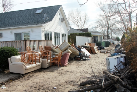 breezy: BREEZY POINT, NY - NOVEMBER 15: Deserted street in the aftermath of Hurricane Sandy on November 15, 2012 in Breezy Point, NY