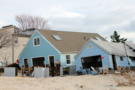 BREEZY POINT, NY - NOVEMBER 15: Destroyed beach houses in the aftermath of Hurricane Sandy on November 15, 2012 in Breezy Point, NY