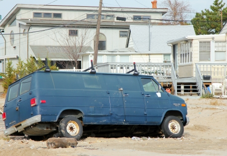 BREEZY POINT, NY - NOVEMBER 15: Destroyed van in the aftermath of Hurricane Sandy on November 15, 2012 in Breezy Point, NY