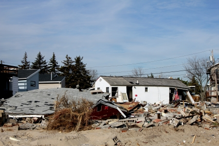 BREEZY POINT, NY - NOVEMBER 20: Destroyed beach  houses in the aftermath of Hurricane Sandy on November 20, 2012 in Breezy Point, NY.