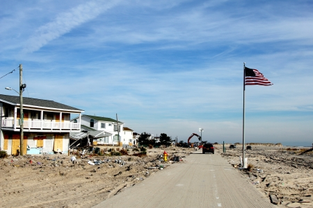 BREEZY POINT, NY - NOVEMBER 20: Rebuilding begins in the aftermath of Hurricane Sandy on November 20, 2012 in Breezy Point, NY.