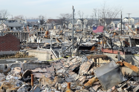 hurricane sandy: BREEZY POINT, NY - NOVEMBER 20: Burned houses in the aftermath of Hurricane Sandy on November 20, 2012 in Breezy Point, NY. More than 80 houses were destroyed in out-of-control six-alarm blaze.