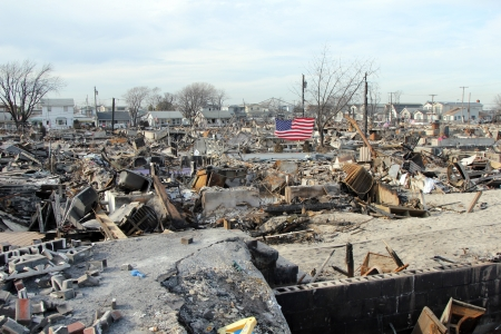BREEZY POINT, NY - NOVEMBER 20: Burned houses in the aftermath of Hurricane Sandy on November 20, 2012 in Breezy Point, NY. More than 80 houses were destroyed in out-of-control six-alarm blaze.