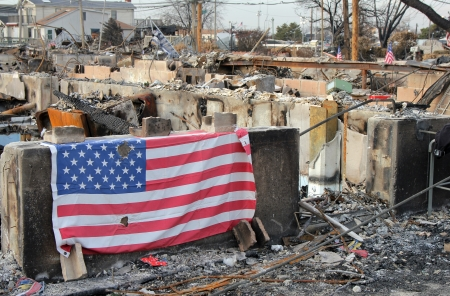 breezy: BREEZY POINT, NY - NOVEMBER 20: Burned house in the aftermath of Hurricane Sandy on November 20, 2012 in Breezy Point, NY. More than 80 houses were destroyed in out-of-control six-alarm blaze. Editorial