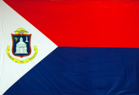 The flag of Sint Maarten  It  is the national flag of the Dutch part of Saint Martin island, which is a country within the Kingdom of the Netherlands  photo